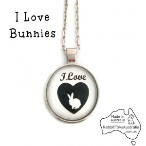 Bunny Rabbit Glass Pendant Necklace and Silver Chain Set