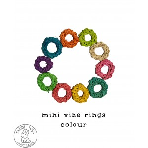 Woven Vine Willow Mini Ring 4cm Bunny Chew Toy Parts (10PACK) - COLOUR