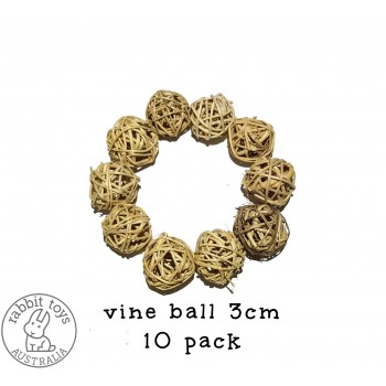 Woven Vine Willow Ball 3cm Bunny Chew Toy Parts (10PACK)- Natural