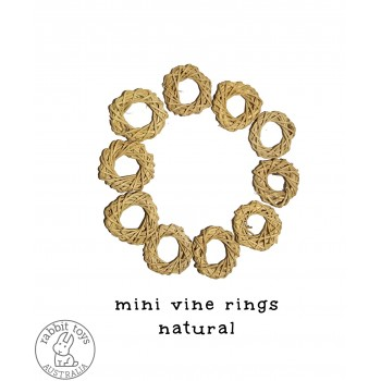 Woven Vine Willow Mini Ring 4cm Bunny Chew Toy Parts (10PACK)- NATURAL