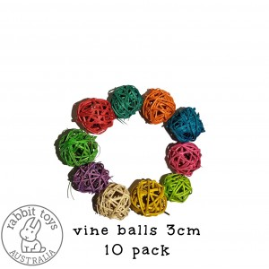 Woven Vine Willow Ball 3cm Bunny Chew Toy Parts (10PACK)- COLOUR