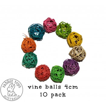Woven Vine Willow Ball 4cm Bunny Chew Toy Parts (10PACK)- COLOUR