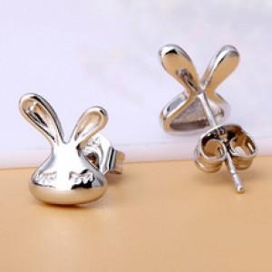 Sleepy Bunny Face Stud Earrings