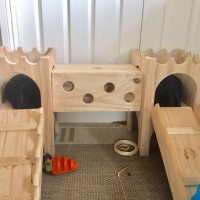 Ellas bunnies are kings and queens in their wooden binky castle